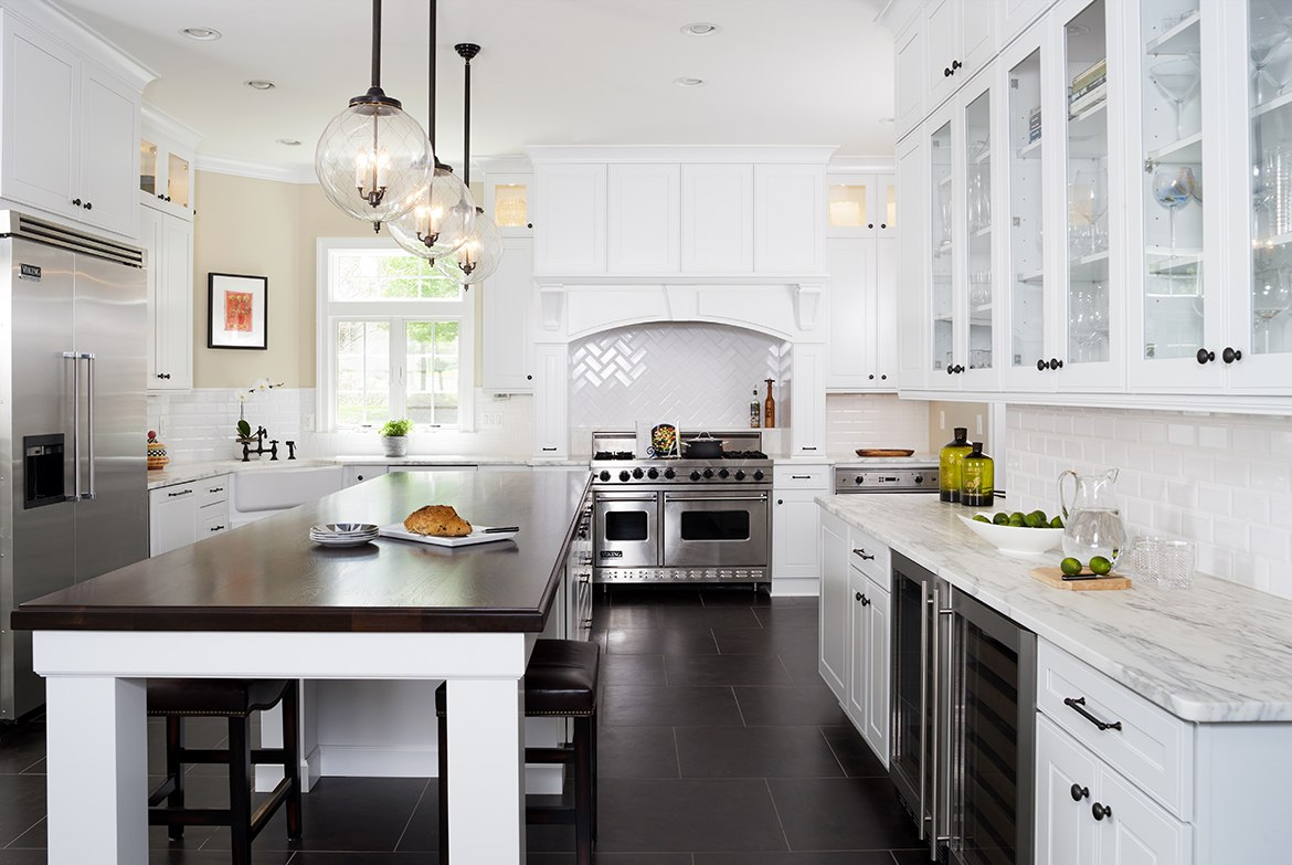 Kitchen Remodeling In Northern VA, MD, DC, White Cabinets, Marble Counters,