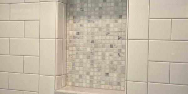 Master bathroom remodel in Northern VA, MD, DC; marble counters & flooring; tile shower