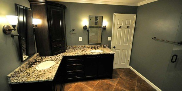 Bathroom remodeling in Northern VA, MD, DC, granite countertops, black cabinets, large tile shower, clawfoot tub, double vanity