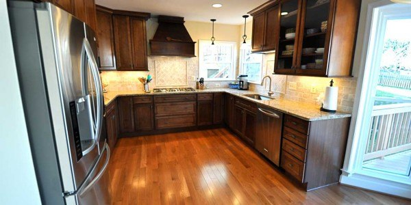 Kitchen remodel in Northern VA, MD, DC; wood cabinets, stainless steel appliances