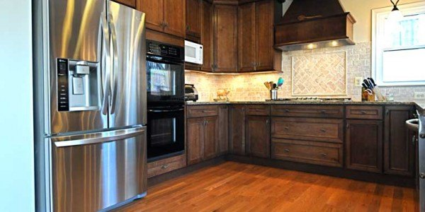 Kitchen remodel in Northern VA, MD, DC; wood cabinets, stainless steel appliances; hardwood floors