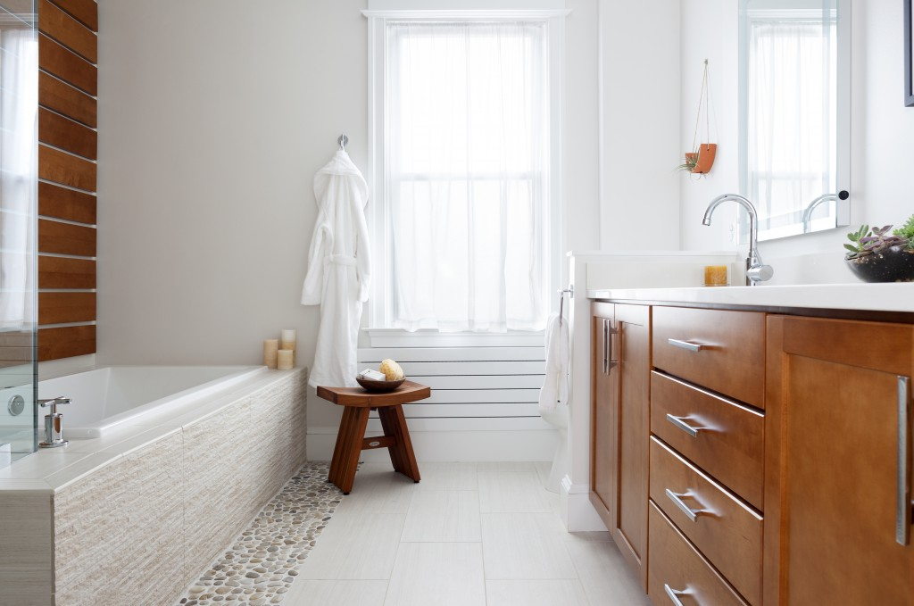 Bathroom remodel in Northern VA, MD, DC; Shaker style cabinets,