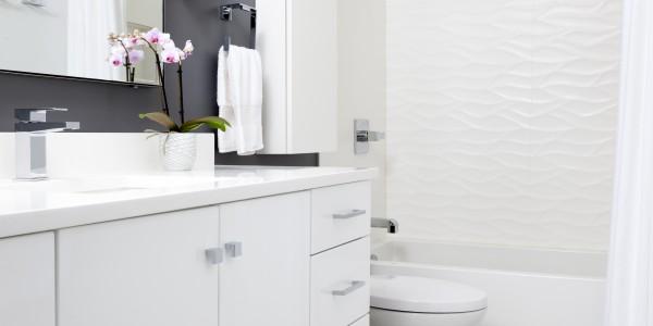 Bathroom remodel in Northern VA, MD, DC; white cabinets; marble tile floor
