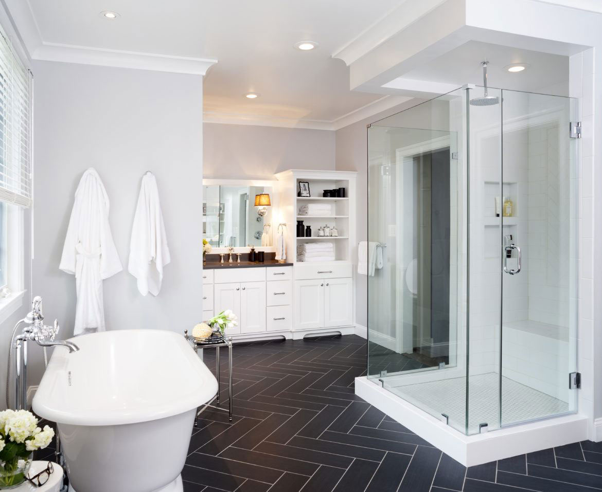Luxury bathroom remodel in Northern VA, MD, DC; white cabinets; bathroom seating
