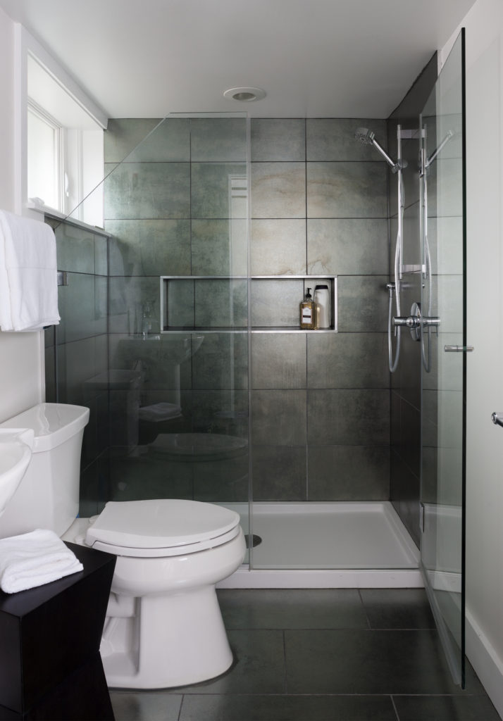 Modern Bathroom Remodel In Northern VA, MD, DC; Tile Floor And Tile Shower