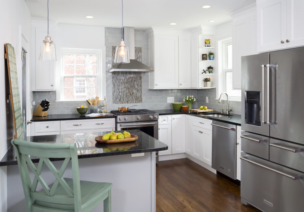 Kitchen remodel in Northern VA, MD, DC; subway tile, white cabinets,