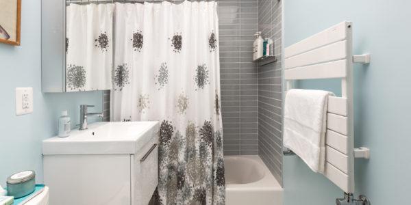 Bathroom remodel in Northern VA, MD, DC; floating vanity; gray tile shower