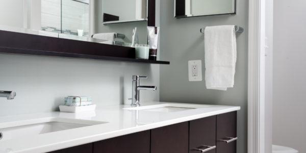 Bathroom remodel in Northern Virginia, MD, DC; dark wood cabinets; floating vanity
